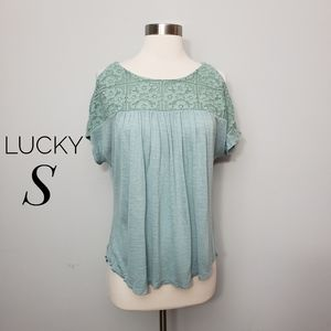 LUCKY BRAND sea foam lace top cold shoulder top